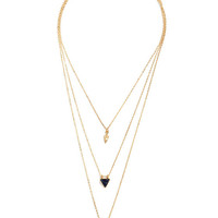 Desert Treasures Navy Blue and Gold Layered Necklace