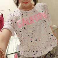 California Grey and Neon Paint Speckled Tee Shirt