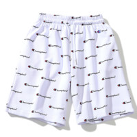 Champion new fashion summer more letter print men and women loose sports shorts White