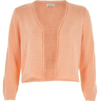 River Island Womens Coral 3/4 sleeve cropped cardigan