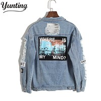 Vintage Fashion Wash Water Distrressed Denim Jacket Embroidery Letter Loose Back