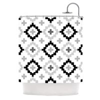 "Pellerina Design ""Black White Moroccan"" Grey Geometric Shower Curtain"