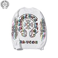 Chrome hearts 2019 new classic big horseshoe color gradient color round neck long-sleeved sweater white