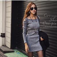 Women Sweater Dress Long Sleeve Knitted Bodycon Stretch