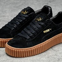 Mens Womens Puma Fenty by Rihanna Creepers Black Brown Suede Shoes