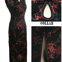 Black-Red Traditional Chinese Dress Women's Satin Long Halter Cheongsam Qipao Clothings Flower Size S M L XL XXL XXXL J3035