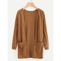 Open Front Cardigan With Pockets