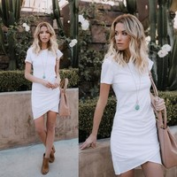 2019 New Womens Bodycon Dresses Fashion Women Solid Color Casual Skirts Womens Streetwear Style Dress Ladies Clothing Size S-2XL