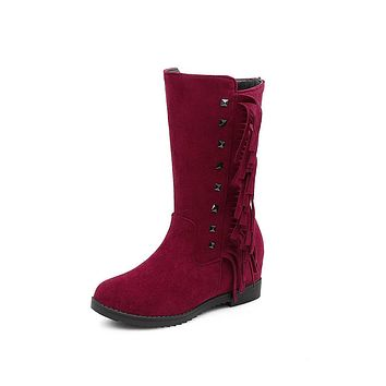 Tassel Mid Calf Boots Winter Shoes for Woman 5392