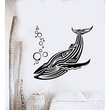Vinyl Wall Decal Big Blue Whale Sea Animal Water Bubbles Stickers (2959ig)