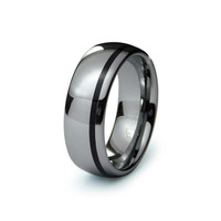 Ethan's Black Striped Tungsten Wedding Band