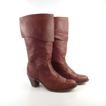 Dexter Boots Vintage 1970s Stacked Heel Riding Dex Whiskey Brown Women's size 7 1/2 M