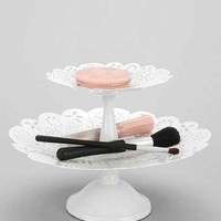 Double-Tiered Lace Vanity Tray- White One