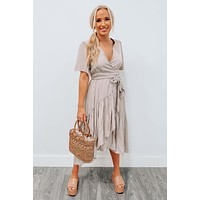 Ask Nicely Dress: Taupe