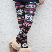 Two styles  Womens Xmas Snowflake Reindeer Knitted Warm Leggings Tights winter Pants ONE SIZE = 1946708100