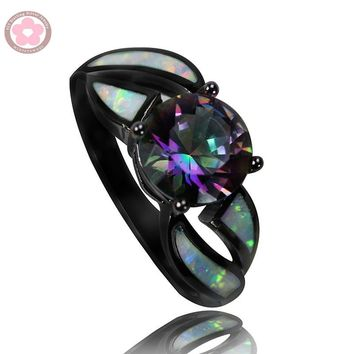 JZ0150  2016 Hot Sale 10Kt Black Gold Filled AAA Rainbow Crystal & Fire Opal Rings Fashion Jewelry For  Women Cocktail Ring