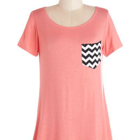 ModCloth Long Short Sleeves Flawless Pizzazz Tunic in Coral