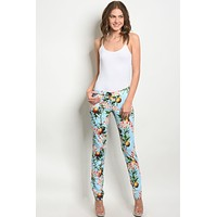 Blue With Flower Print Pants