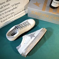 Golden Goose Ggdb Hi Star Sneakers With Star And Heel Tab In Metallic Silver-1