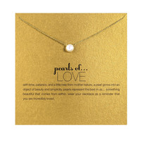 Hot sale imitation pearl of love plated 14k gold Pendant Necklaces Clavicle Chains necklace Fashion Chain Necklace Women Jewelry