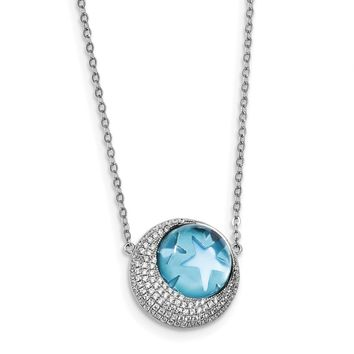 Sterling Silver Rhodium-plate Blue Glass & CZ Moon/Stars 2in Ext Necklace QG4618