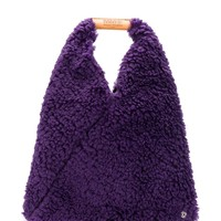 Purple Vegan Shearling Tote Bag by MM6 Maison Margiela
