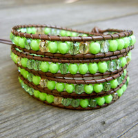 Beaded Leather Wrap Bracelet 4 Wrap with Lime Green Czech Glass Beads on Brown Leather Seen on Hallmark Channel Cedar Cove