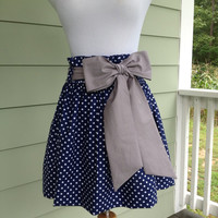 """Women's boutique gameday skirt """"The Derby Skirt"""" in navy polka dot with an silver grey sash, custom made by Collyn Raye"""
