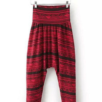 Red Striped High Waist Harem Pants