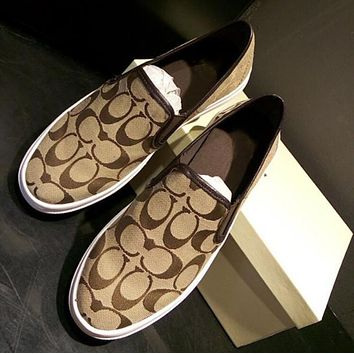 Coach Old Skool Casual Logo Pattern Canvas Flats Sneakers Sport Shoes Coffee I12596-1