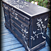 Black dresser buffet and mirror, long dresser, Distressed dresser, shabby chic dresser, rustic dresser, bird stenciled dresser, black buffet