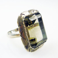 Smokey Quartz Ring Sterling Silver Faceted Stone Large Chunky Vintage Jewelry