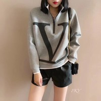 """LOUIS VUITTON"" Woman's Casual Fashion Letter  Personality Printing Zipper Spell Color Long Sleeve T-Shirt Tops"