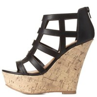 Black Lattice Cut-Out Caged Platform Wedges by Charlotte Russe