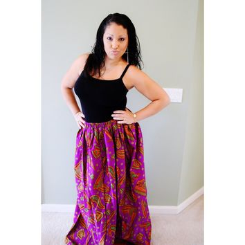 Mattie Purple Cotton Maxi Skirt