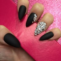 Luxury Hand Painted False Nails. Stiletto Matte Black Nails with Swarovski & Opals