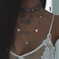 New Hot Boho Collar Choker Retro Silver Turquoise Necklace For Women Ethnic Bohemian Moon Festival Jewelry