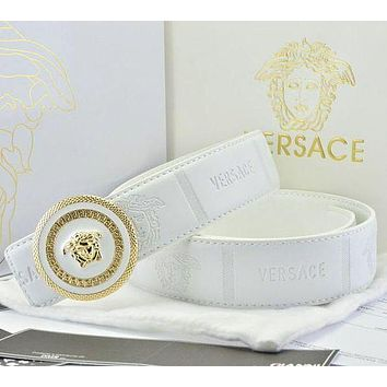 Versace Fashion Smooth Buckle Belt Leather Belt-4