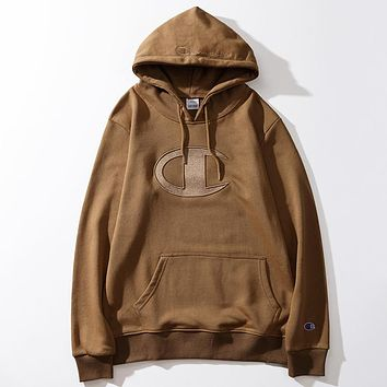 Champion New fashion embroidery logo hooded long sleeve sweater top Coffee