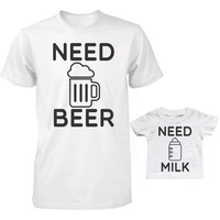 Daddy and Baby Matching T-Shirt Set - Need Bear and Milk Infant Tee