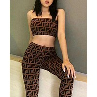 FENDI Trending Women Stylish Double F Letter Pattern Sexy Strapless Top Sports Stretch Pants Trousers Sweatpants Two Piece Set Coffee I12816-1