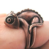 3D Adjustable Iguana Chameleon Animal Wrap Around Hug Ring in Copper