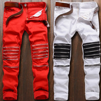 Men's Knee Zipper Jeans