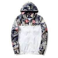 Floral Jacket 2017 Autumn Mens Hooded Jackets Slim Fit Long Sleeve Homme Trendy Windbreaker Coat Brand Clothing Drop Shipping