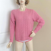1990s Vintage L. L. Bean Pink Cable Knit Lady's Sweater, All Cotton, Size Medium, Set In Sleeves, Vintage Clothing, 1990s Fashion, Outdoor