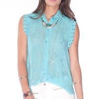 What's the Splatter Button Down Top in Aqua Blue :: tobi