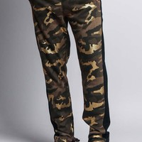 Men's Slim Fit Gold Foil Camo Track Pants