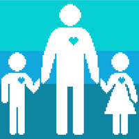 Father's Day modern cross stitch pattern of a dad and his kids. Contemporary cross stitch design.