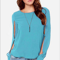 New Women Loose Oversize Blouse Tops Batwing Sleeve Long Casual Patchwork Chiffon T-Shirt (Size:S-3XL) = 1946259908