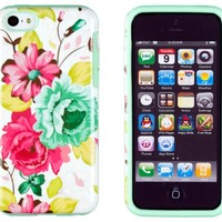 DandyCase 2in1 Hybrid High Impact Hard Pink Floral Pattern + Mint Green Silicone Case Cover For Apple iPhone 5C + DandyCase Screen Cleaner